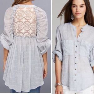 Free People Put Your Back Into chambray Lace Tunic